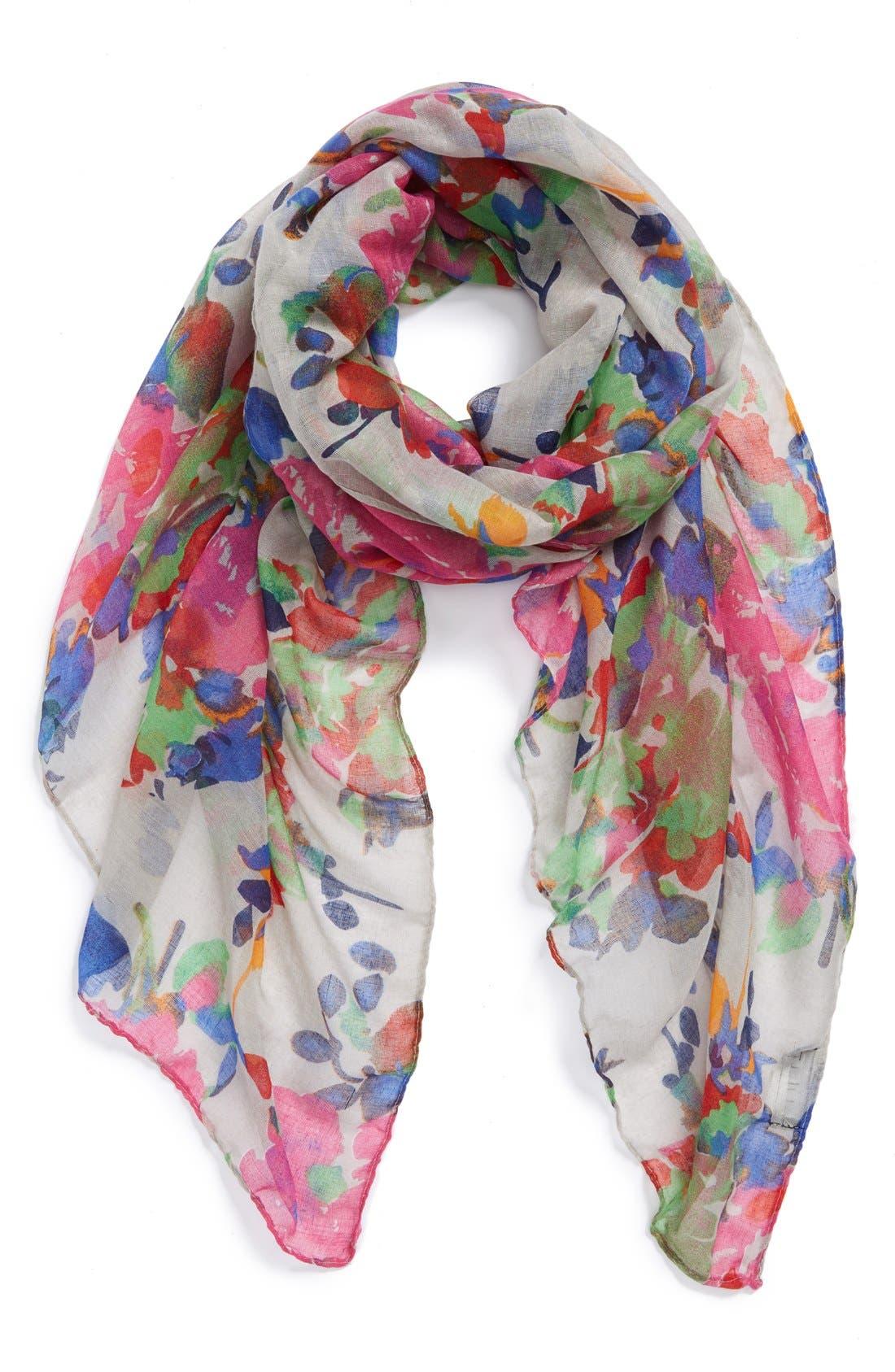Alternate Image 1 Selected - Lulu Floral Print Scarf (Juniors)