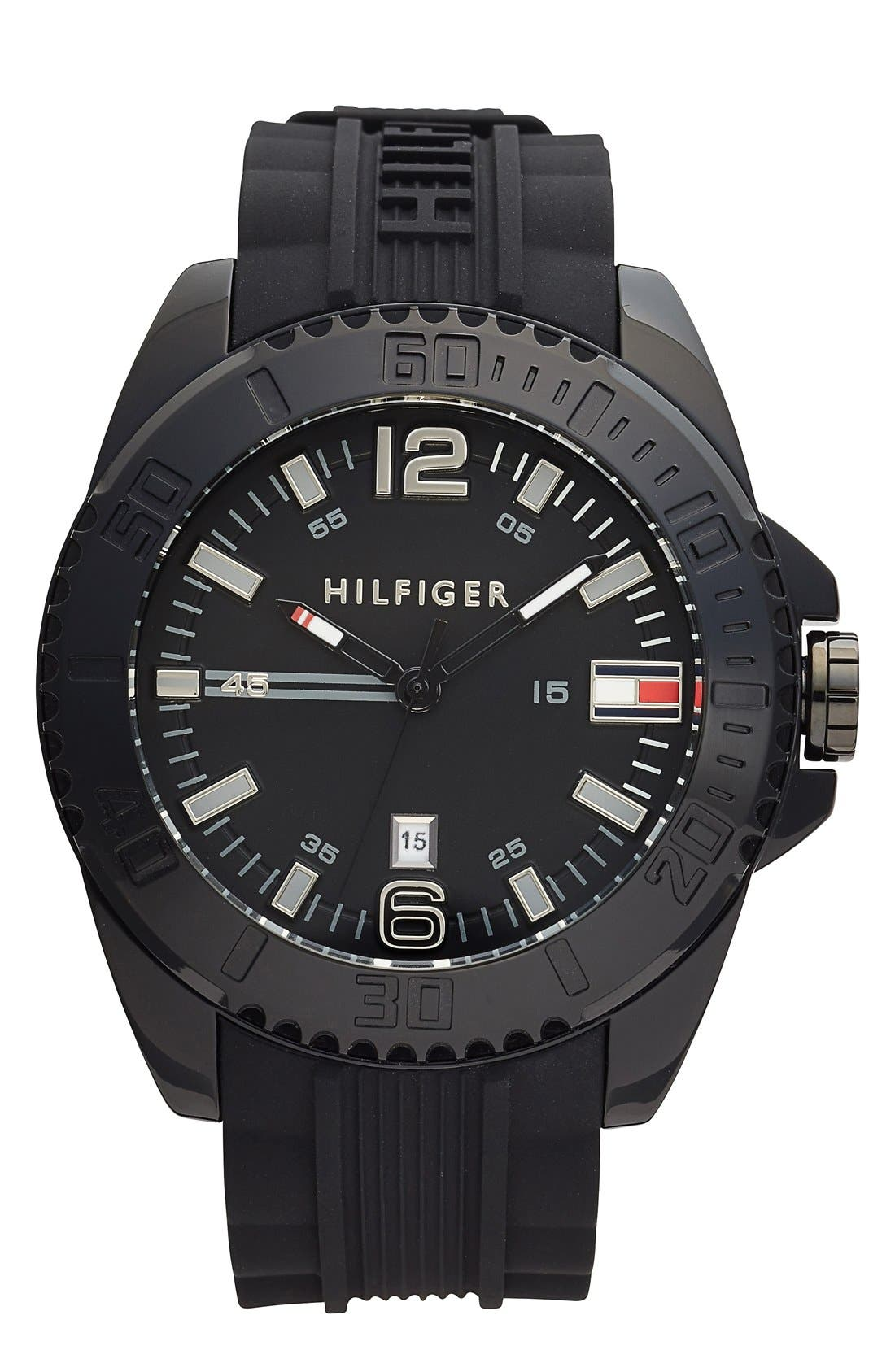 Alternate Image 1 Selected - Tommy Hilfiger Round Silicone Strap Watch, 48mm