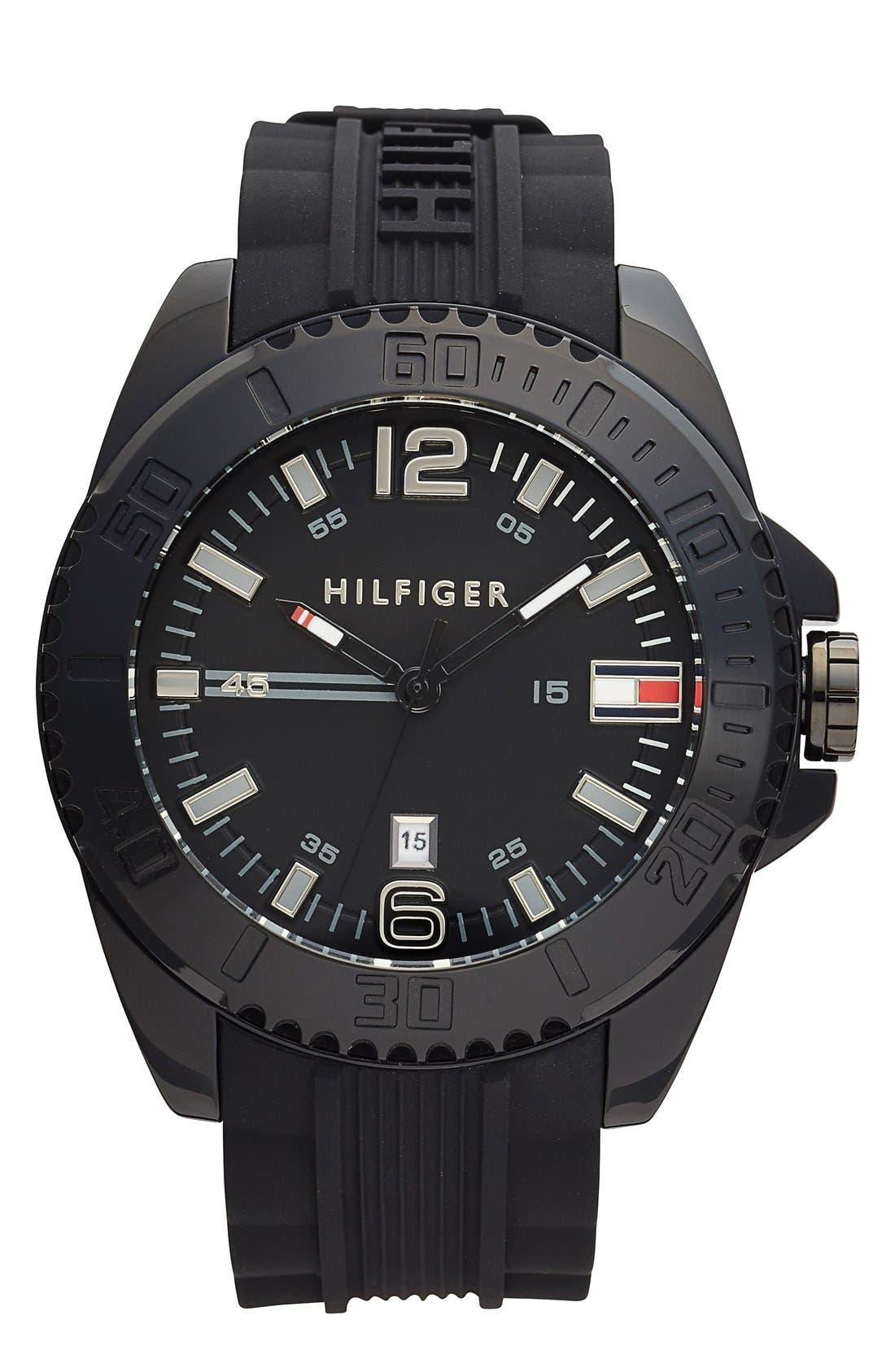 Main Image - Tommy Hilfiger Round Silicone Strap Watch, 48mm