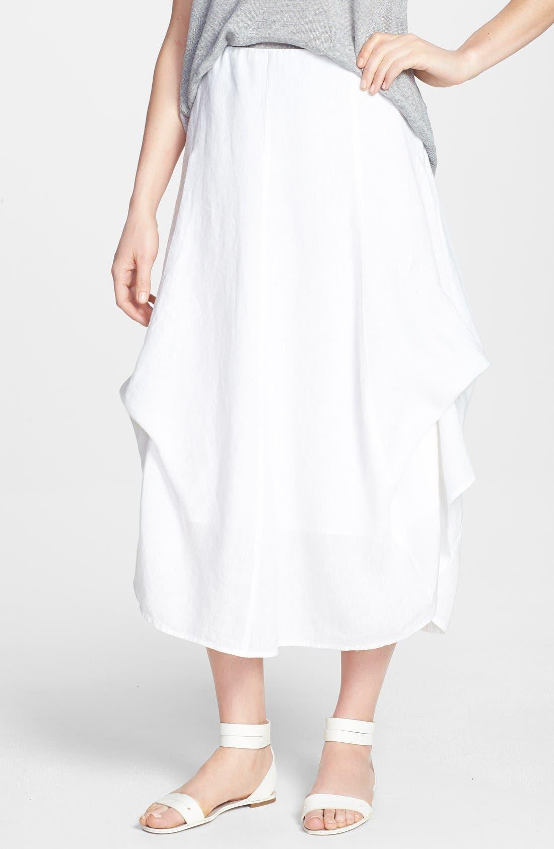 Main Image - Eileen Fisher A-Line Linen Skirt (Regular & Petite)