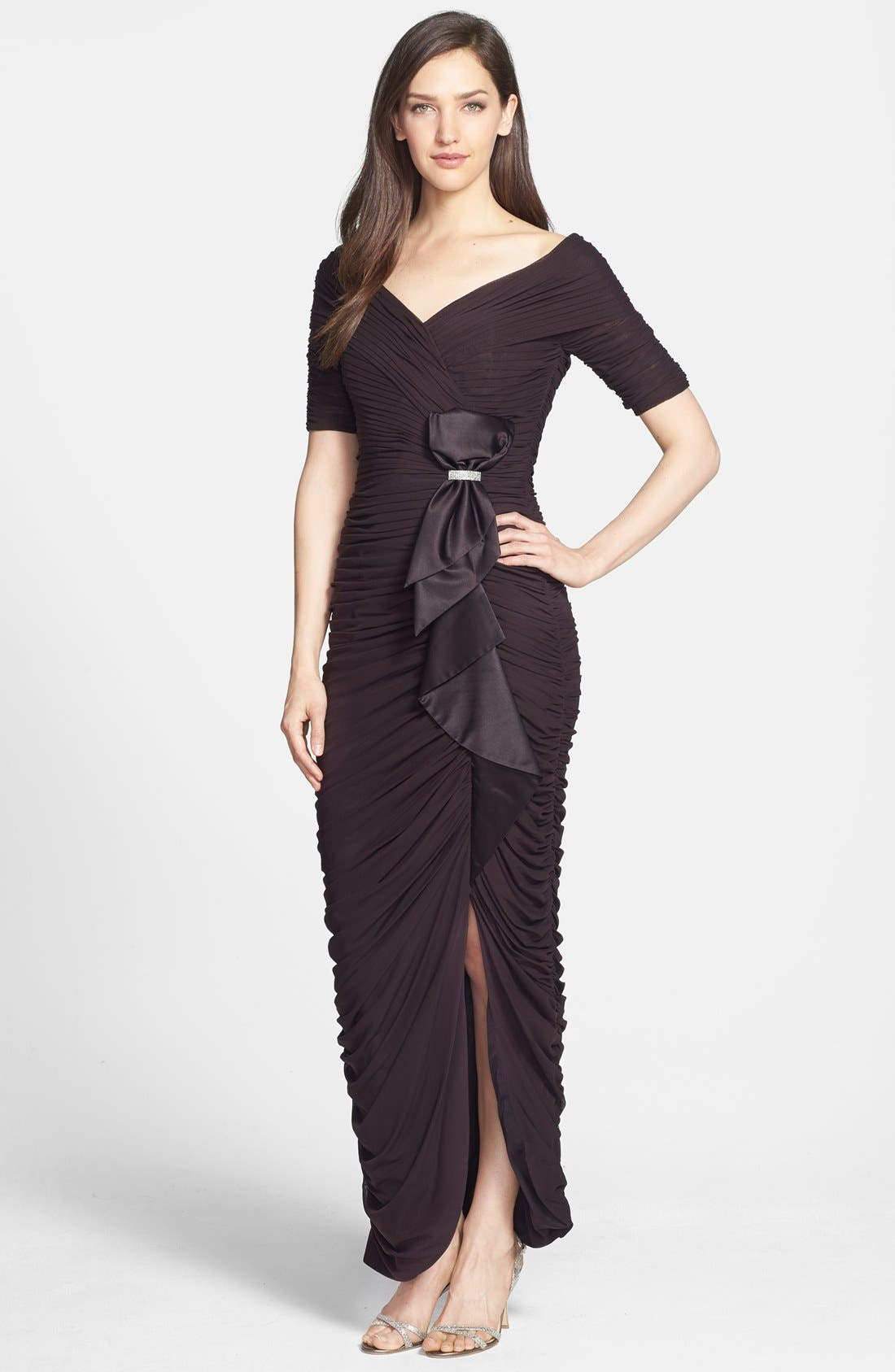 Alternate Image 1 Selected - Daymor '8031' Ruched Elbow Sleeve Dress