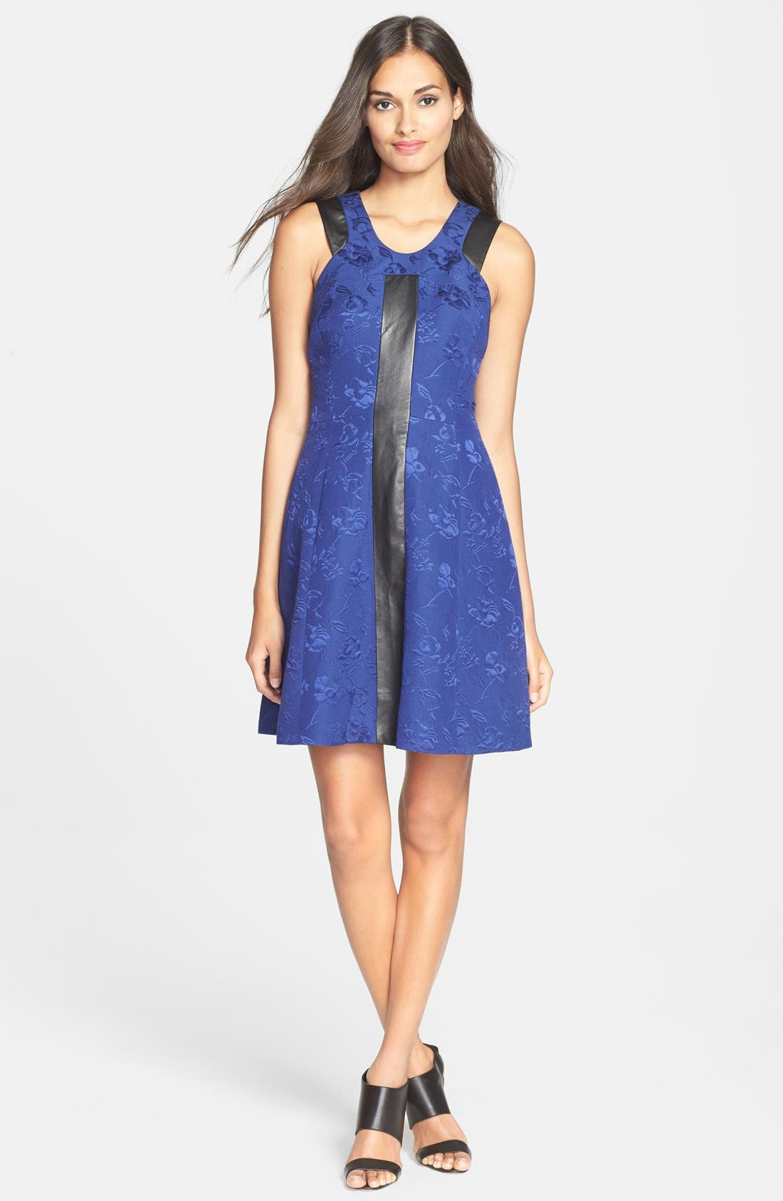 Main Image - Rebecca Taylor Leather Trim Quilted Fit & Flare Dress