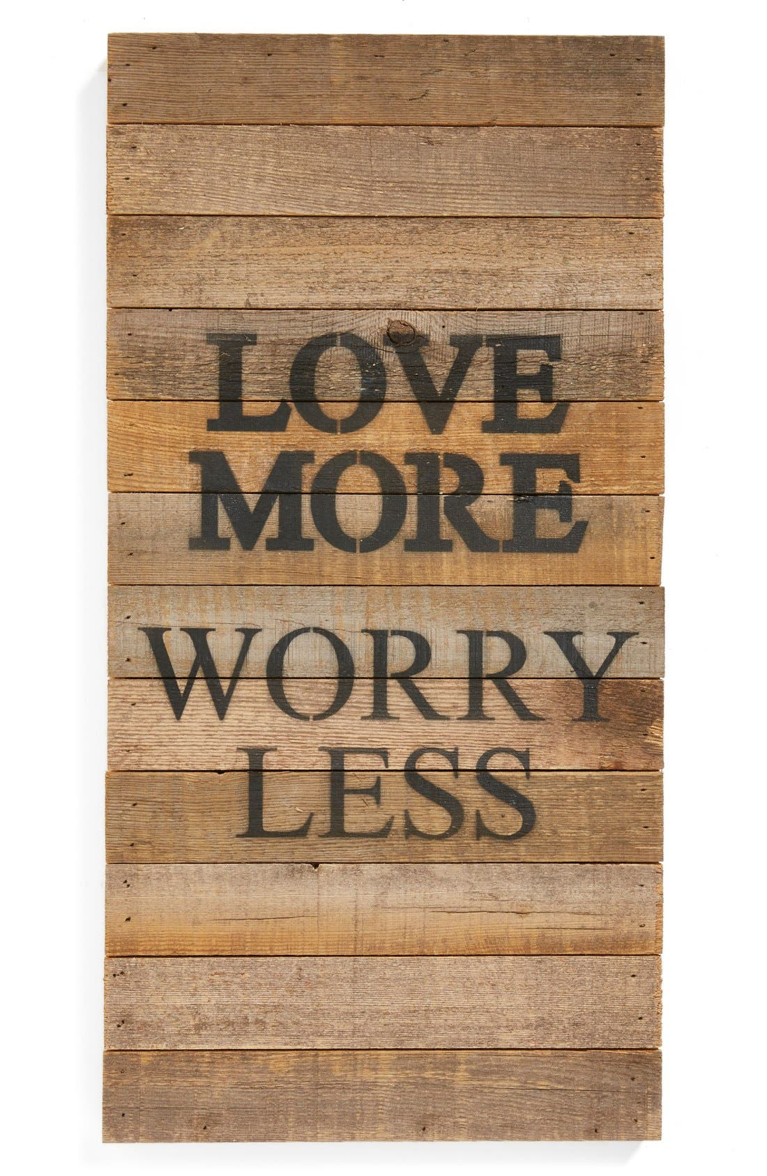 Main Image - Second Nature by Hand 'Love More Worry Less' Repurposed Wood Wall Art