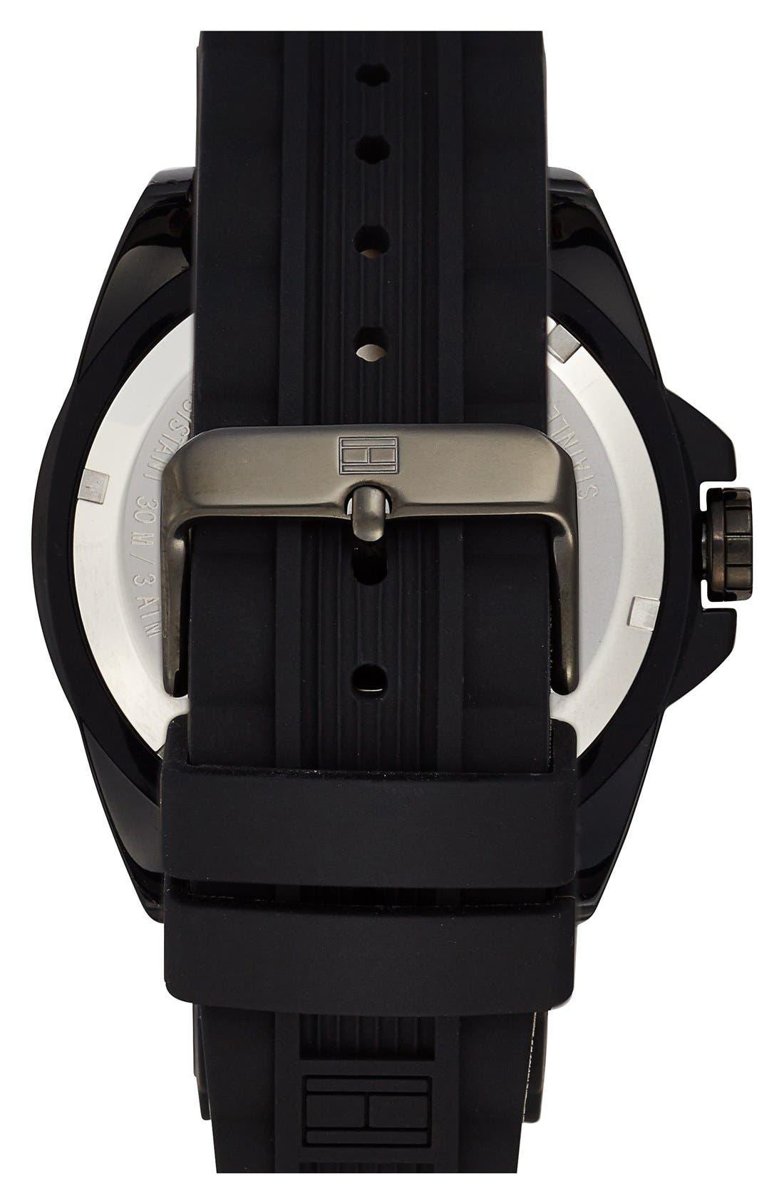 Alternate Image 2  - Tommy Hilfiger Round Silicone Strap Watch, 48mm