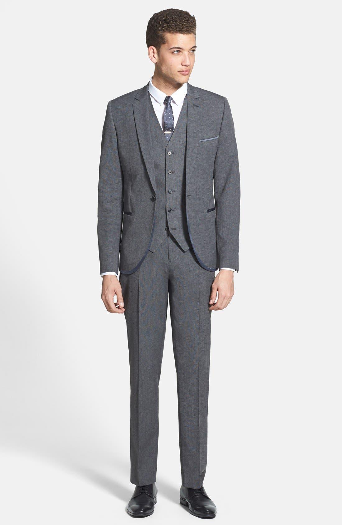 Alternate Image 4  - Topman Skinny Fit Grey Vest