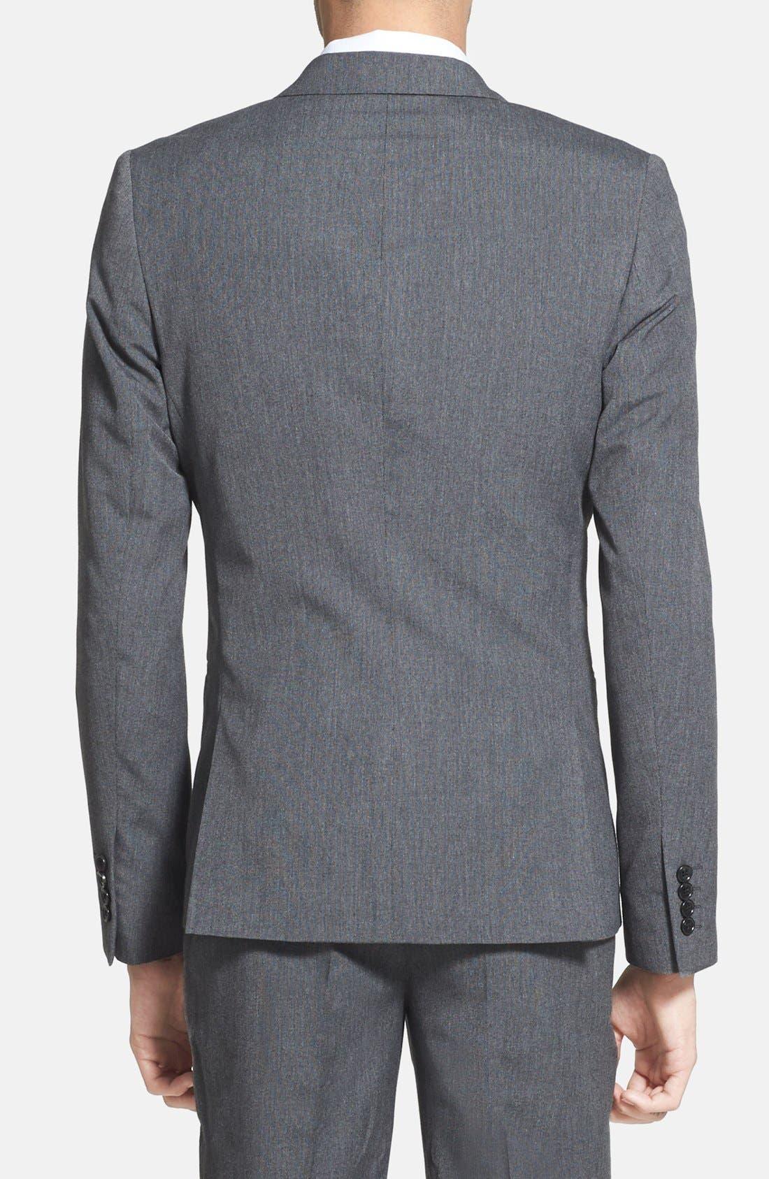 Alternate Image 2  - Topman Skinny Fit Satin Trim Grey Suit Jacket