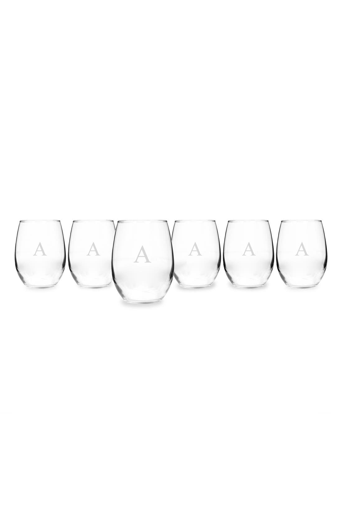 Cathy's Concepts Set of 6 Monogram Stemless Wine Glasses