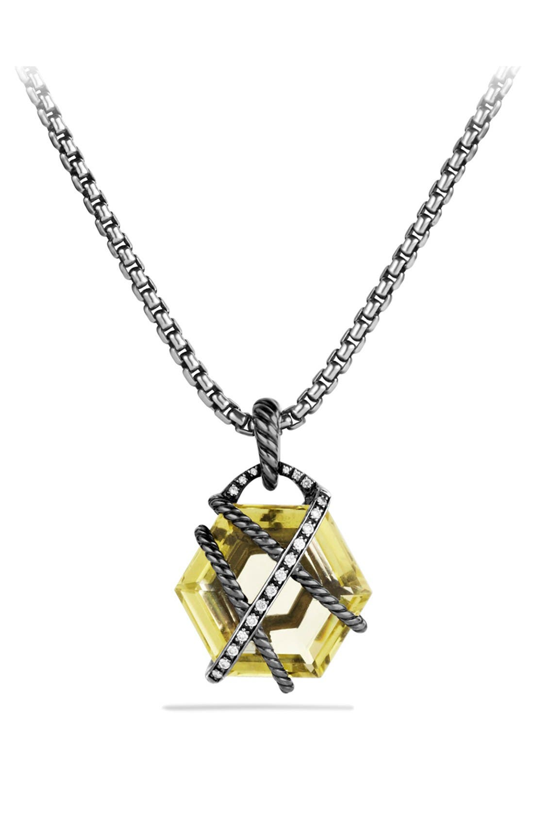 Alternate Image 1 Selected - David Yurman 'Cable Wrap' Pendant with Lemon Citrine and Diamonds