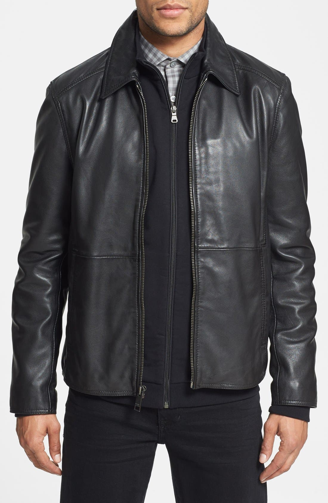 Main Image - Marc New York 'Sherman' Trim Fit Leather Jacket