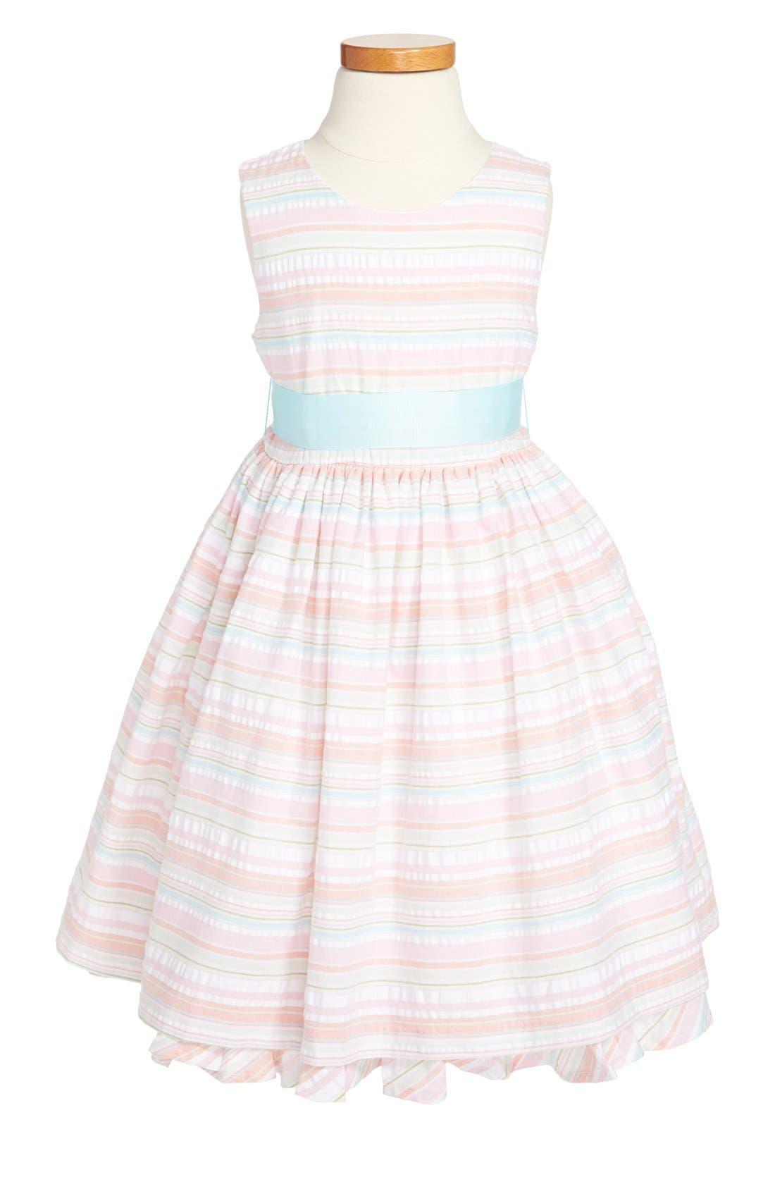 Main Image - Pippa & Julie Seersucker Stripe Cotton Dress (Little Girls & Big Girls)