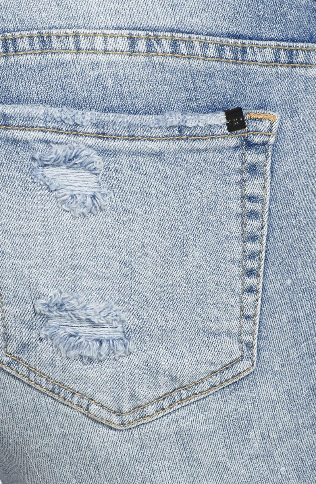 Distressed Roll Cuff Denim Shorts,                             Alternate thumbnail 3, color,                             Light Blue