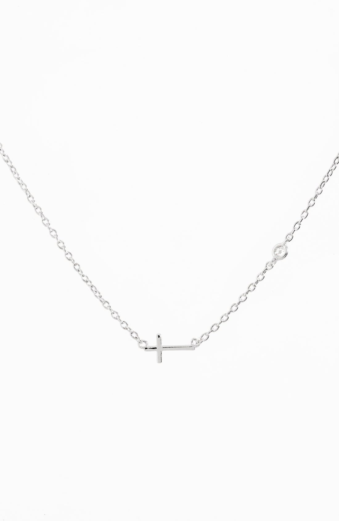 Cross Necklace,                         Main,                         color, Silver