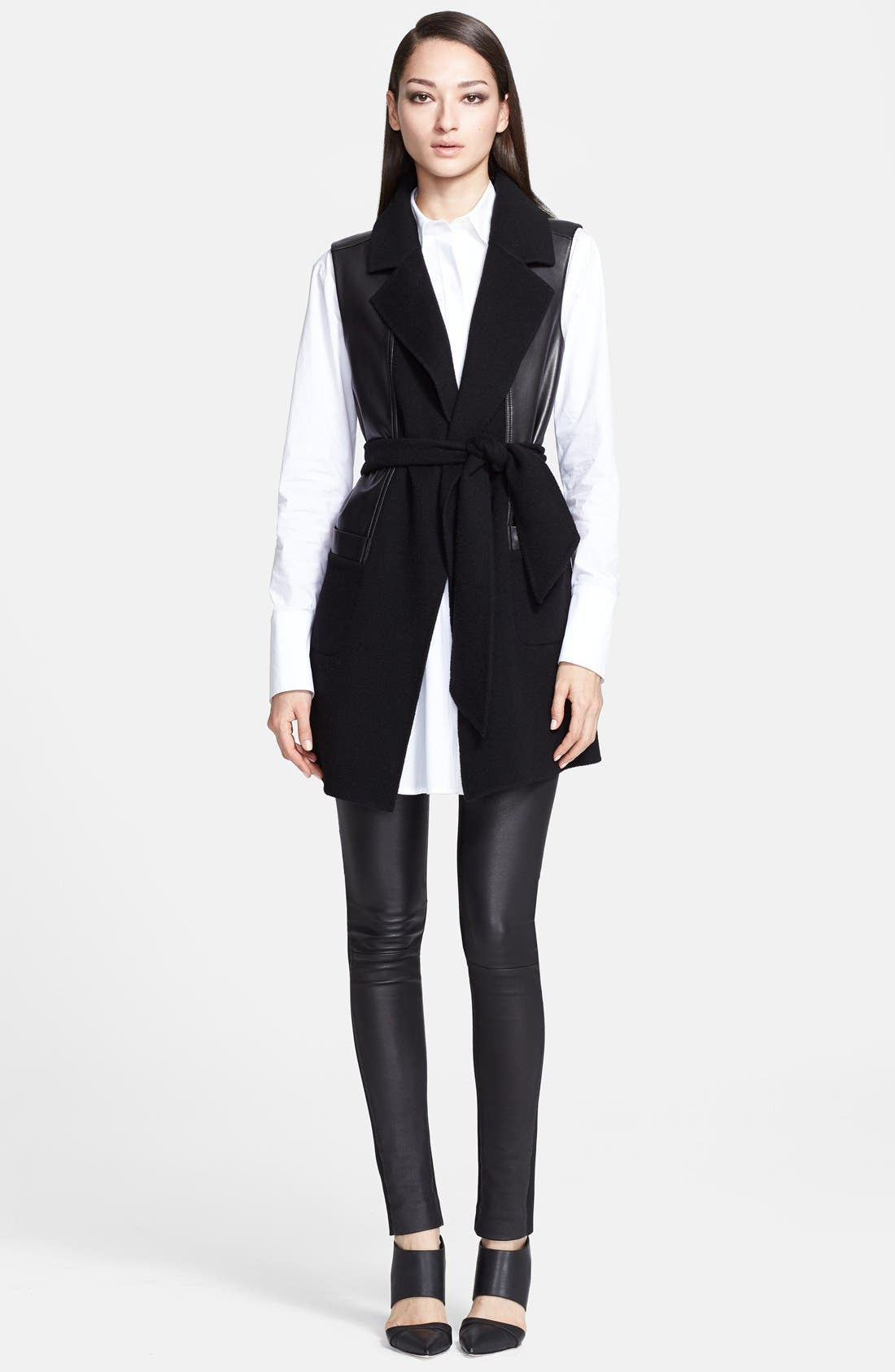 Alternate Image 3  - Donna Karan Collection Belted Leather & Cashmere Vest