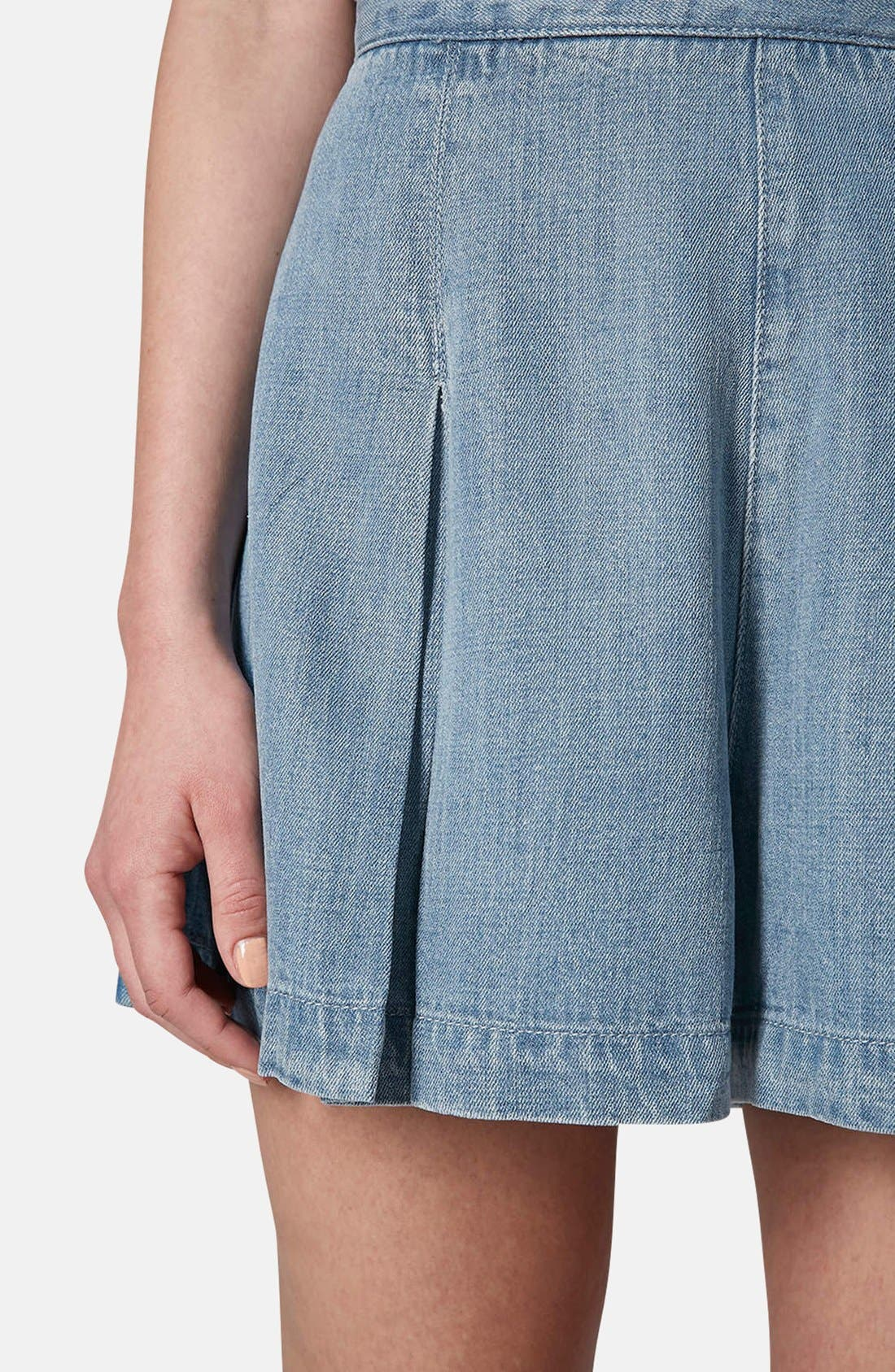 Alternate Image 4  - Topshop Moto Pleated Denim Skort