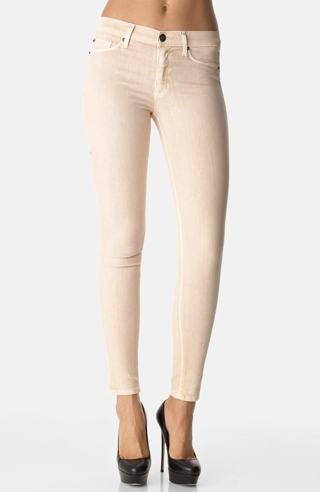 Main Image - Hudson Jeans 'Nico' Skinny Overdyed Jeans (Beige)