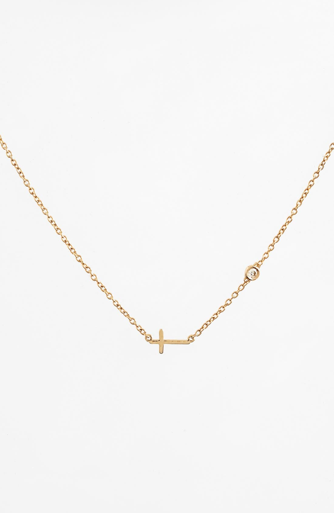 Cross Necklace,                         Main,                         color, Gold