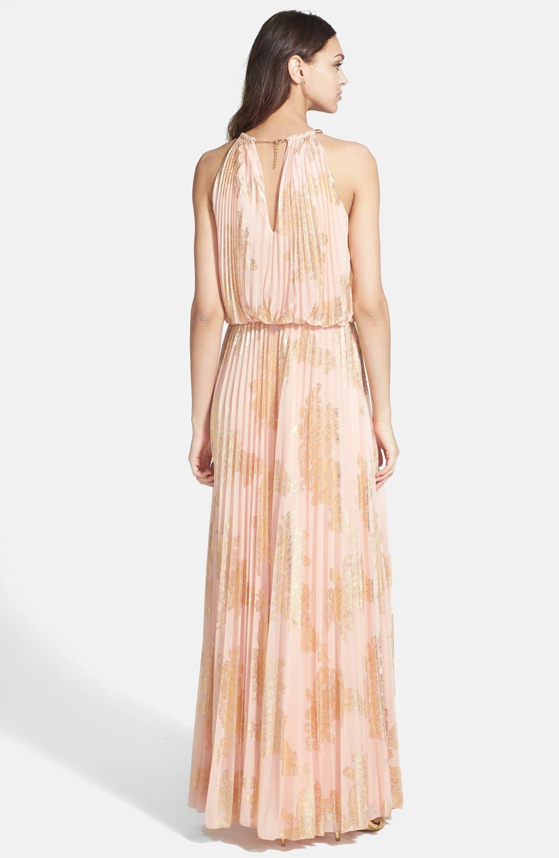 Alternate Image 2  - Xscape Foiled Pleat Blouson Dress