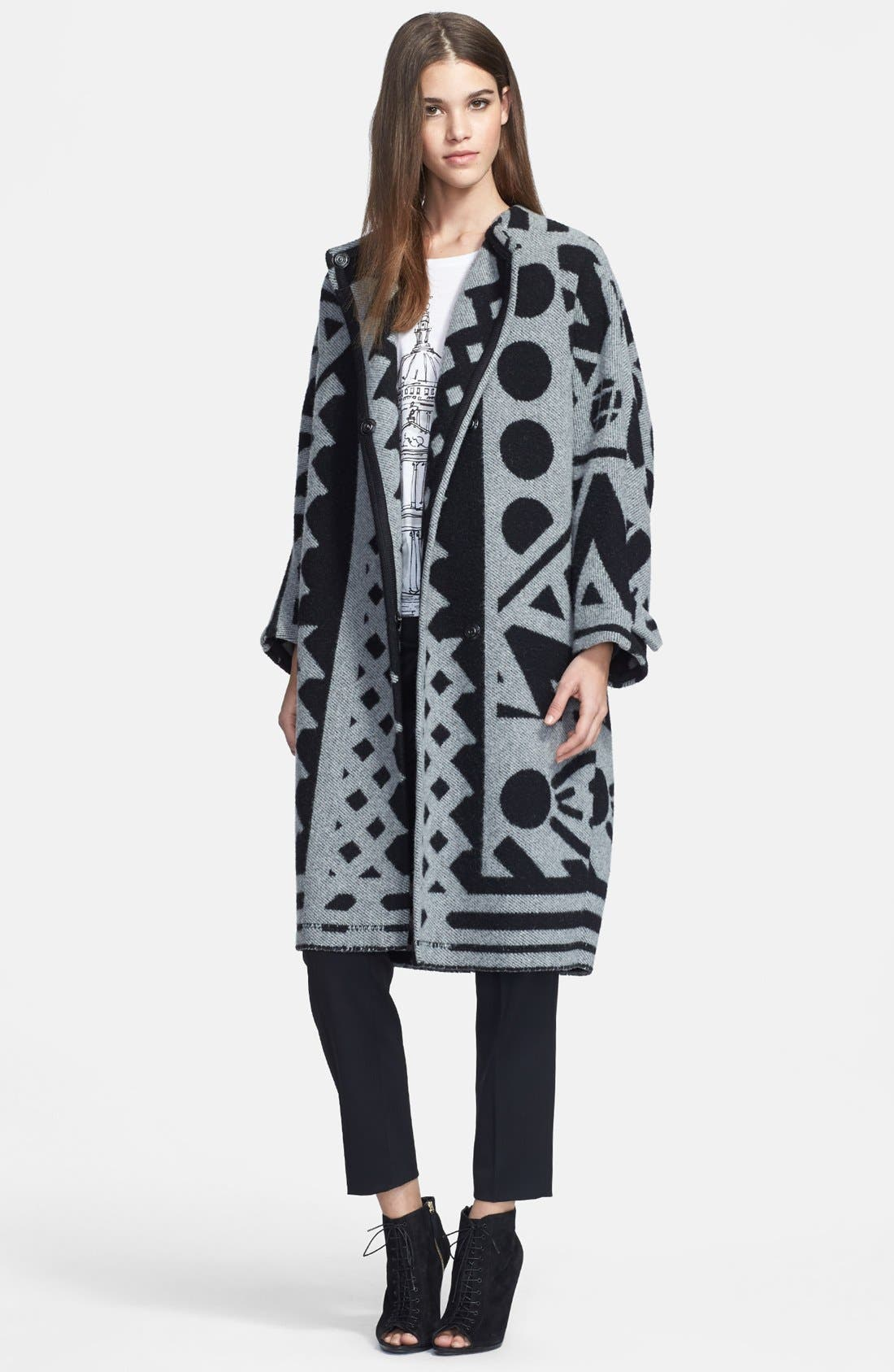 Alternate Image 1 Selected - Burberry Prorsum Jacquard Wool & Cashmere Blanket Coat