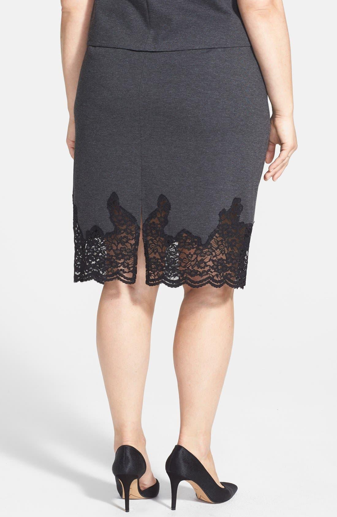 Alternate Image 2  - Vince Camuto Lace Panel Pencil Skirt (Plus Size)