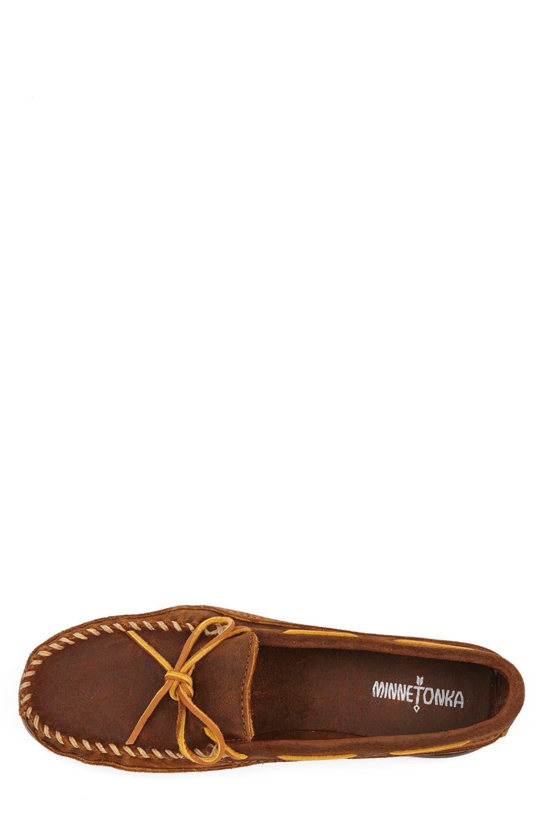 Leather Moccasin,                             Alternate thumbnail 3, color,                             Brown Ruff