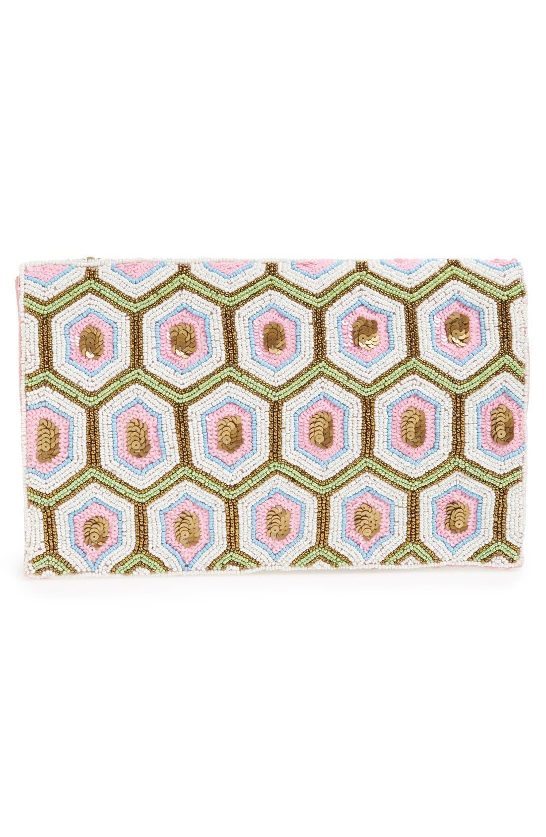 Geo Beaded Envelope Clutch,                             Alternate thumbnail 3, color,                             Pink Multi