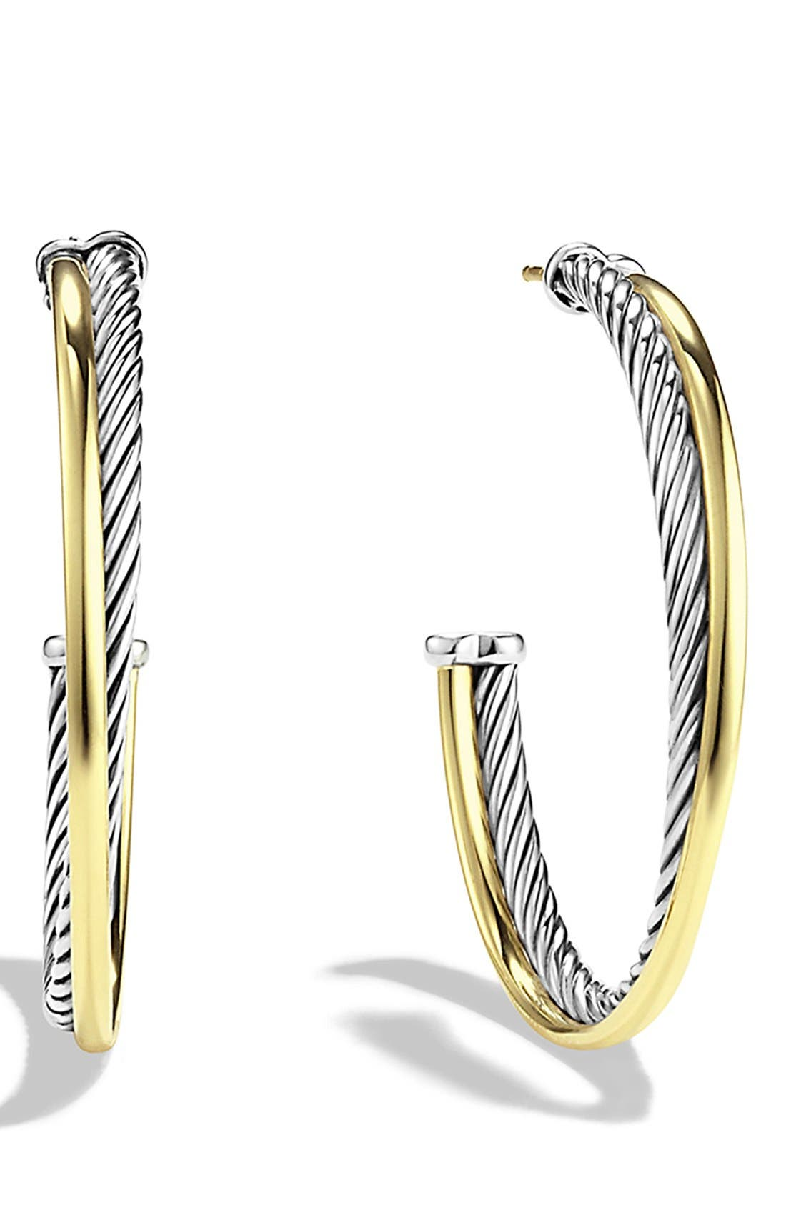 'Crossover' Extra-Large Hoop Earrings with Gold,                         Main,                         color, Two Tone