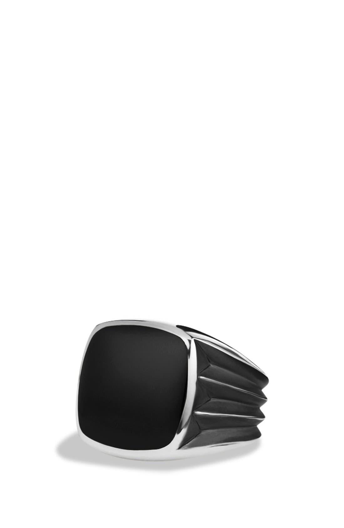 'Royal Cord' Knife Edge Signet Ring with Black Onyx,                         Main,                         color, Black Onyx