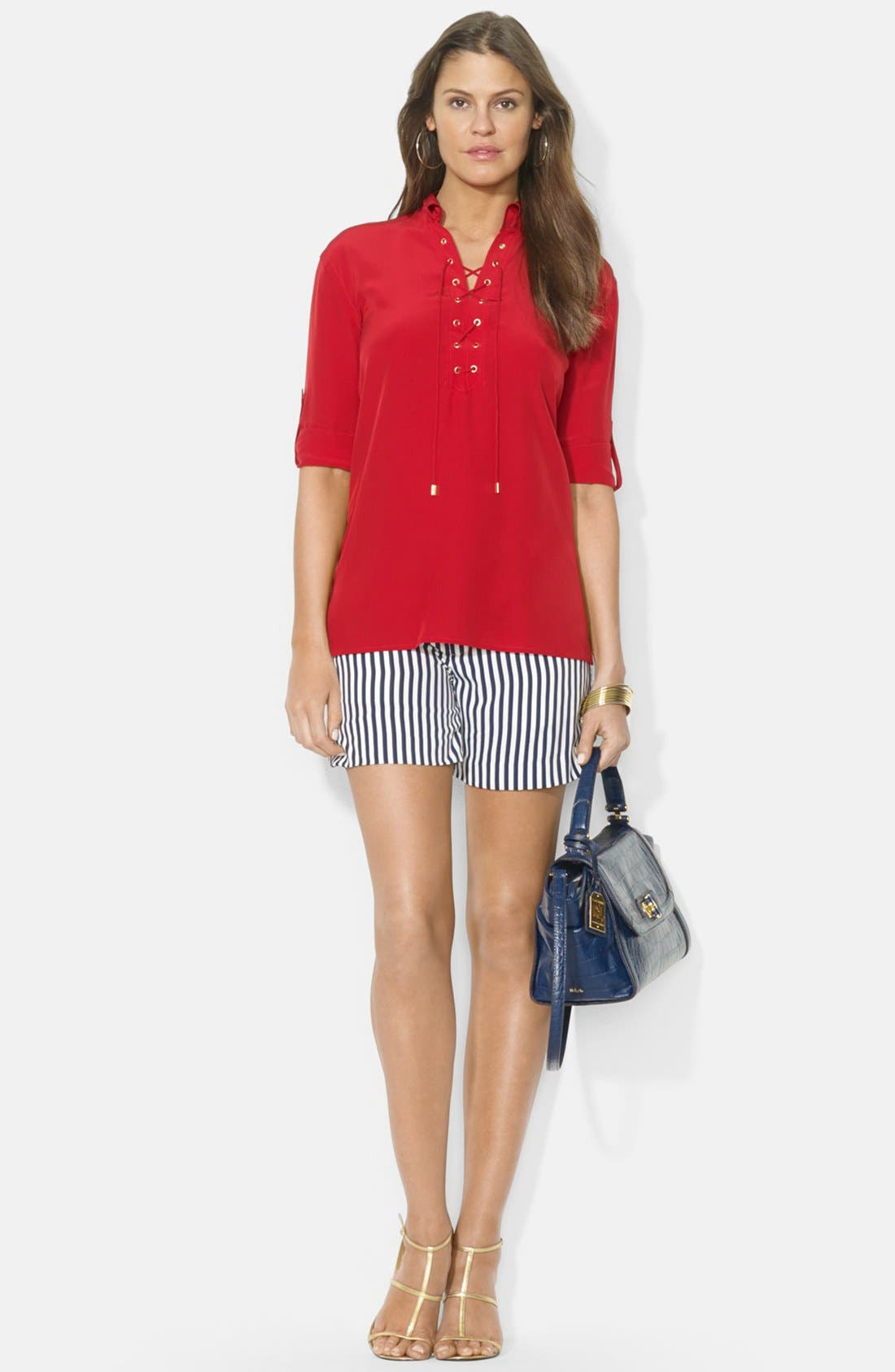 Alternate Image 3  - Lauren Ralph Lauren Lace-Up Silk Blouse