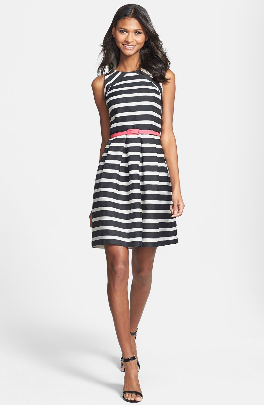 Alternate Image 3  - Eliza J Belted Stripe Jacquard Fit & Flare Dress