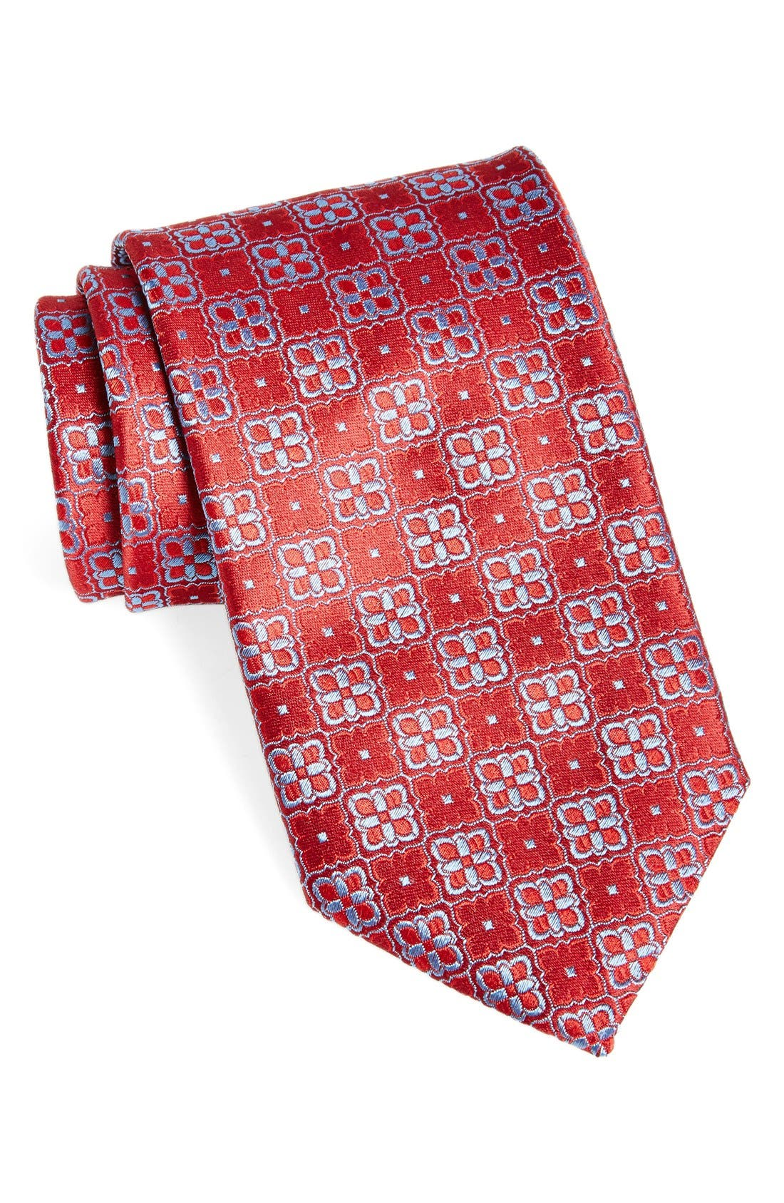 Geometric Woven Silk Tie,                             Main thumbnail 1, color,                             Red
