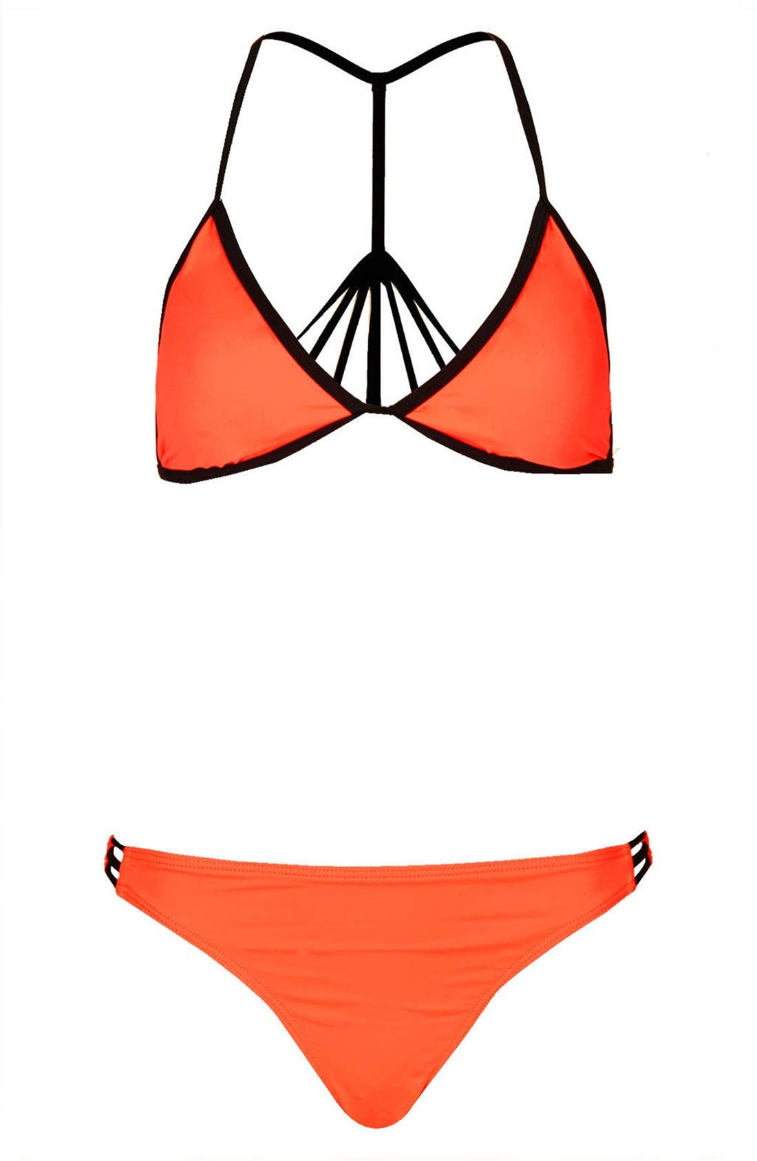 Caged T-Back Bikini,                         Main,                         color, Coral