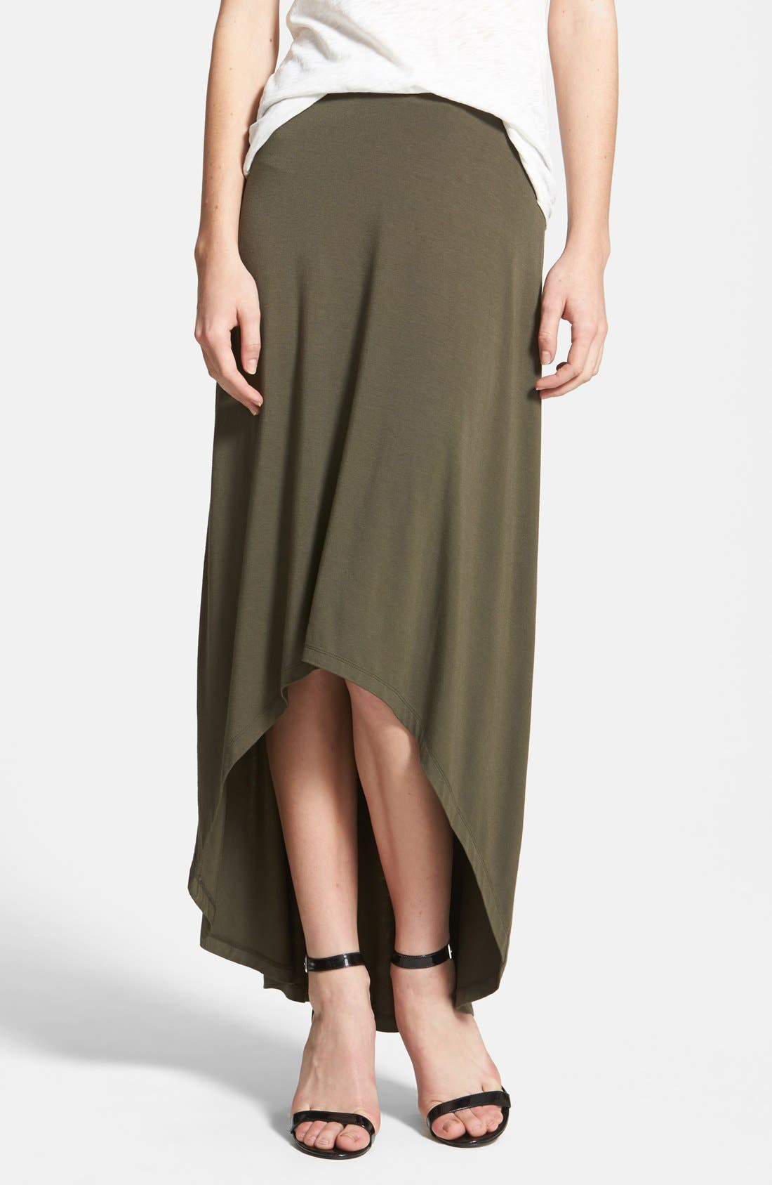 Alternate Image 1 Selected - Halogen® Stretch Knit High/Low Maxi Skirt (Petite)