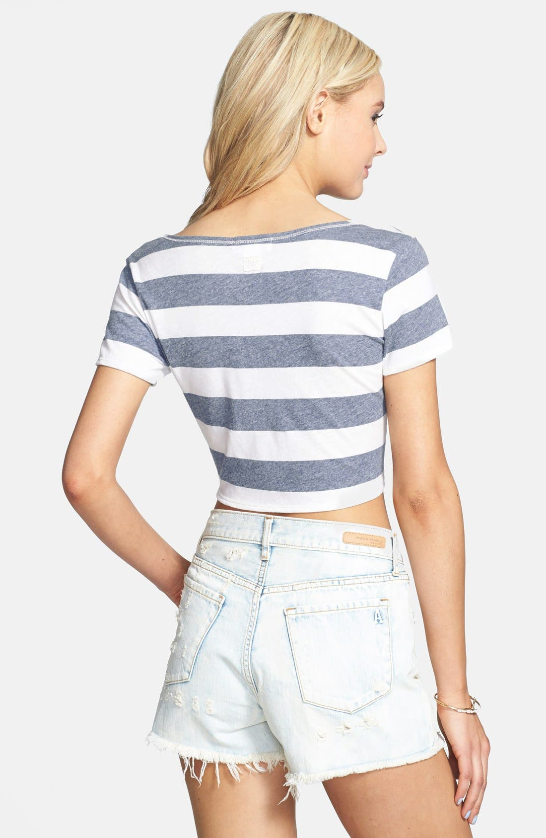 Alternate Image 2  - Billabong 'Before Me' Stripe Knot Front Crop Tee (Juniors)