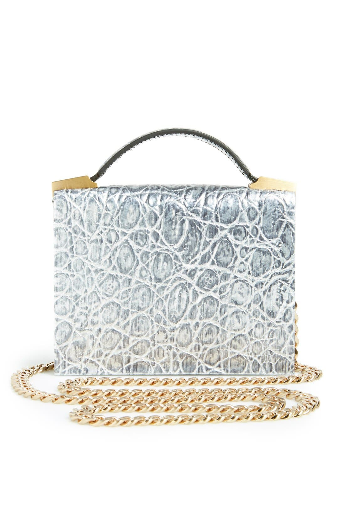 Alternate Image 4  - B Brian Atwood 'Ava' Metallic Leather Top Handle Convertible Clutch