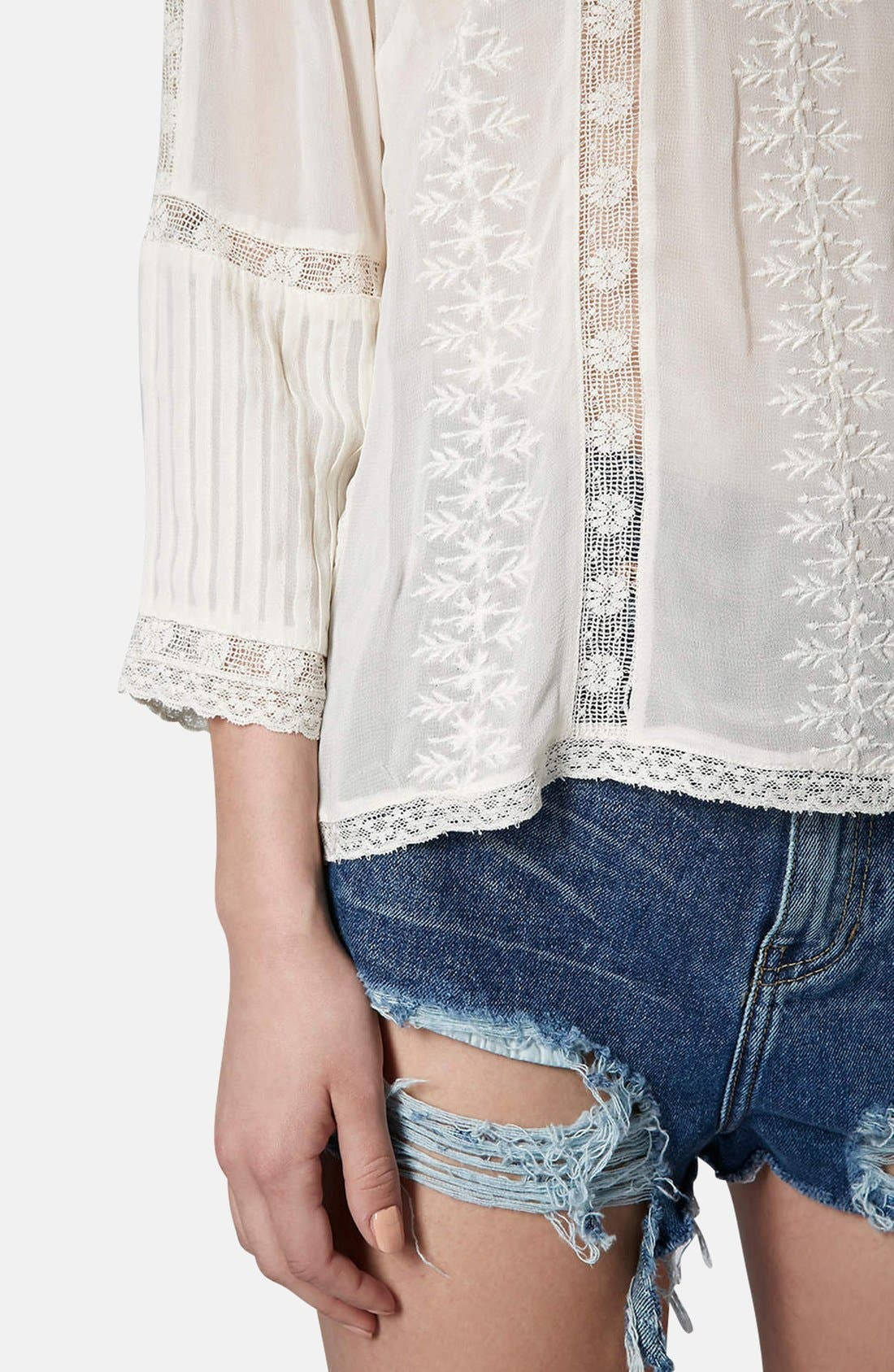 Alternate Image 4  - Topshop Embroidered Blouse