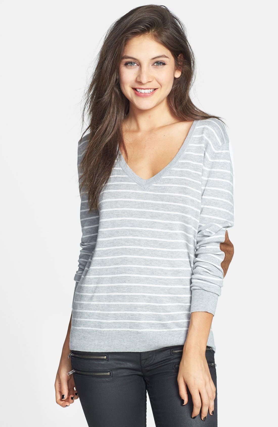 Alternate Image 1 Selected - BP. Stripe Elbow Patch V-Neck Sweater (Juniors)