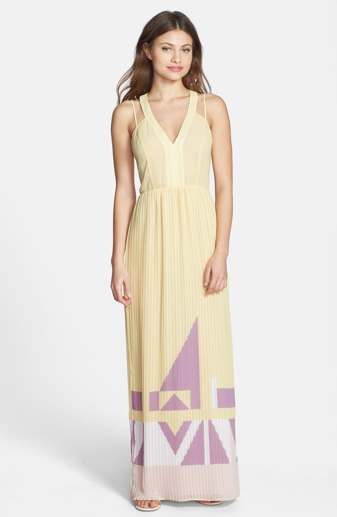 Main Image - French Connection Print V-Neck Pleat Maxi Dress