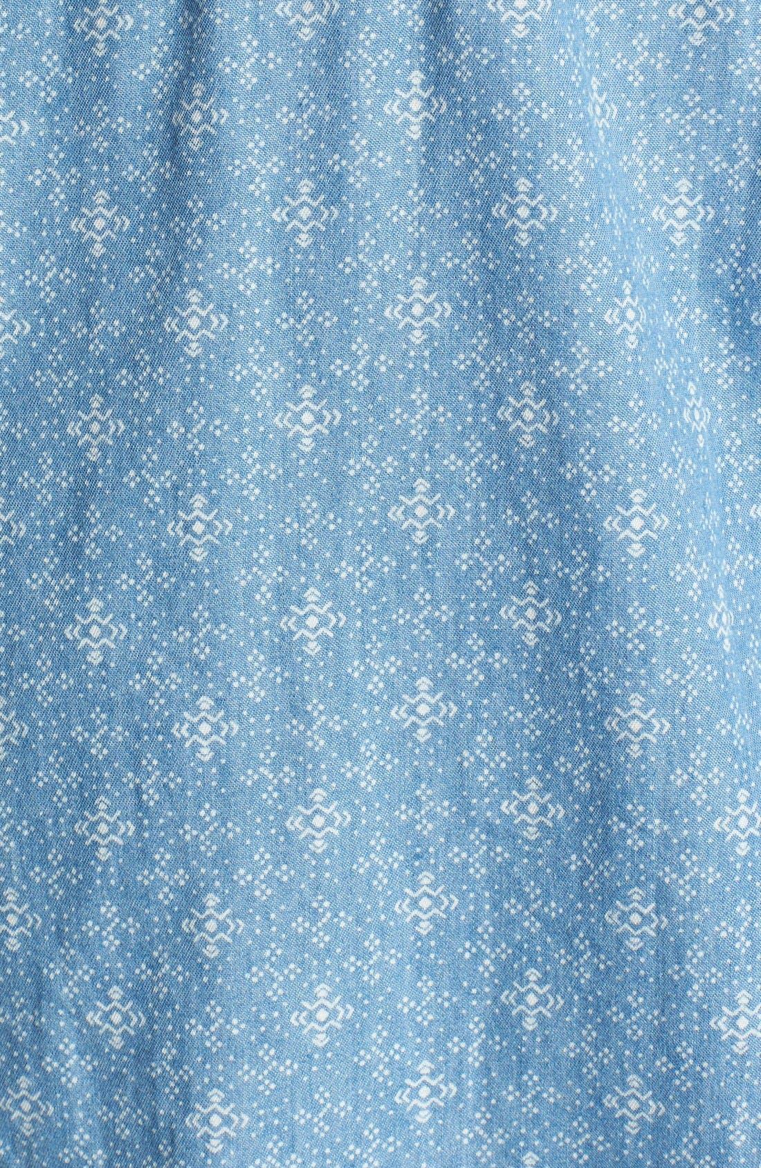 Alternate Image 3  - Seven7 Print Roll Sleeve Denim Shirt (Plus Size)