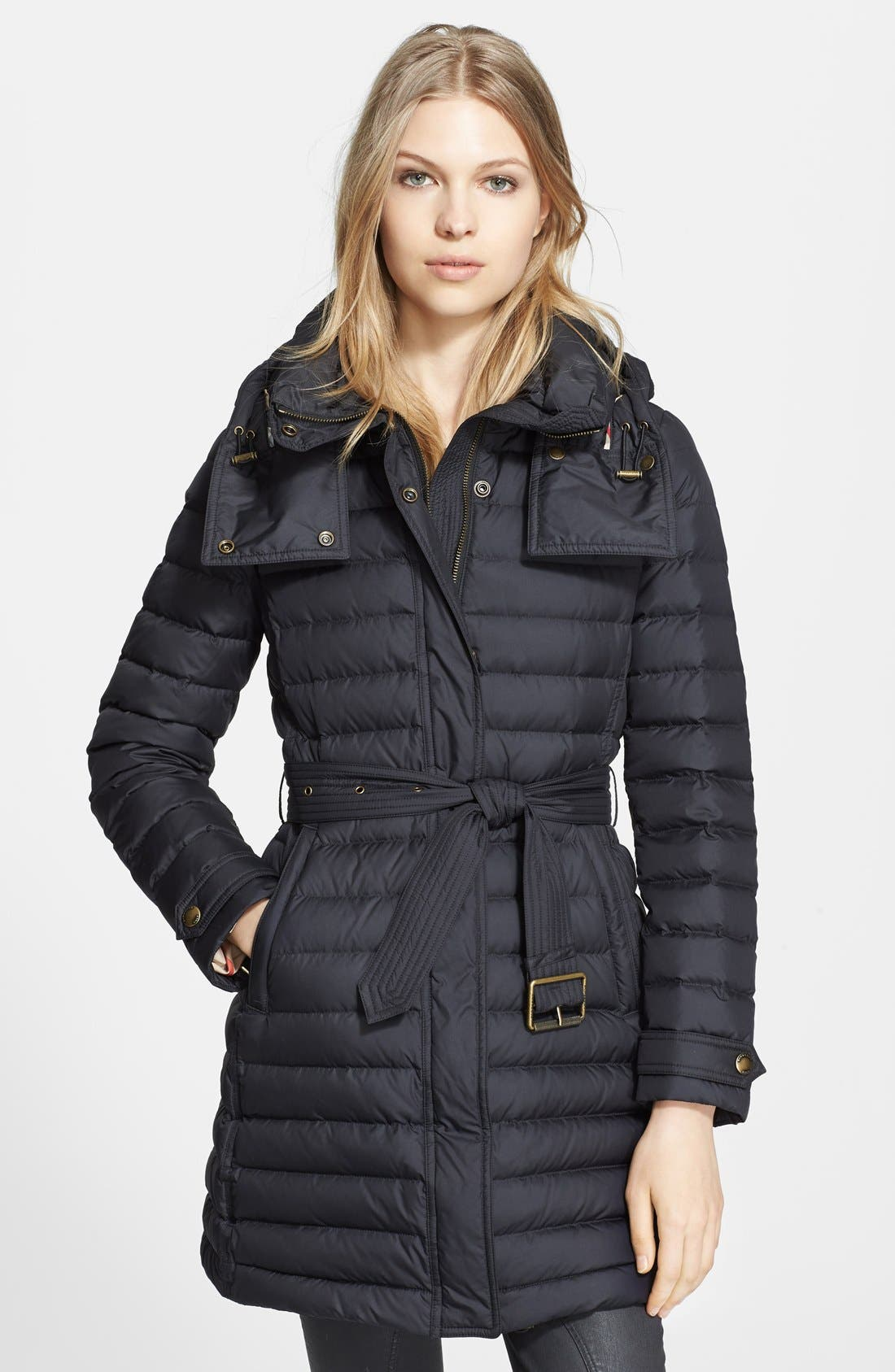 Main Image - Burberry Brit 'Colbrooke' Channel Quilt Down Coat with Removable Hood