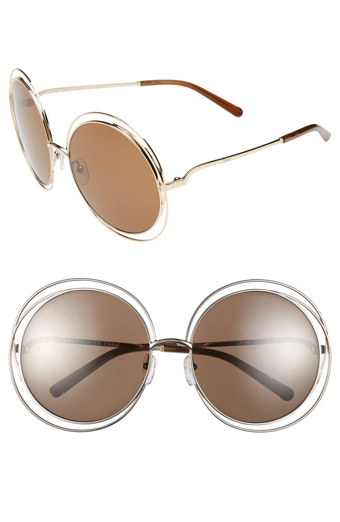 62mm Oversize Sunglasses,                         Main,                         color, Gold/ Transparent Brown