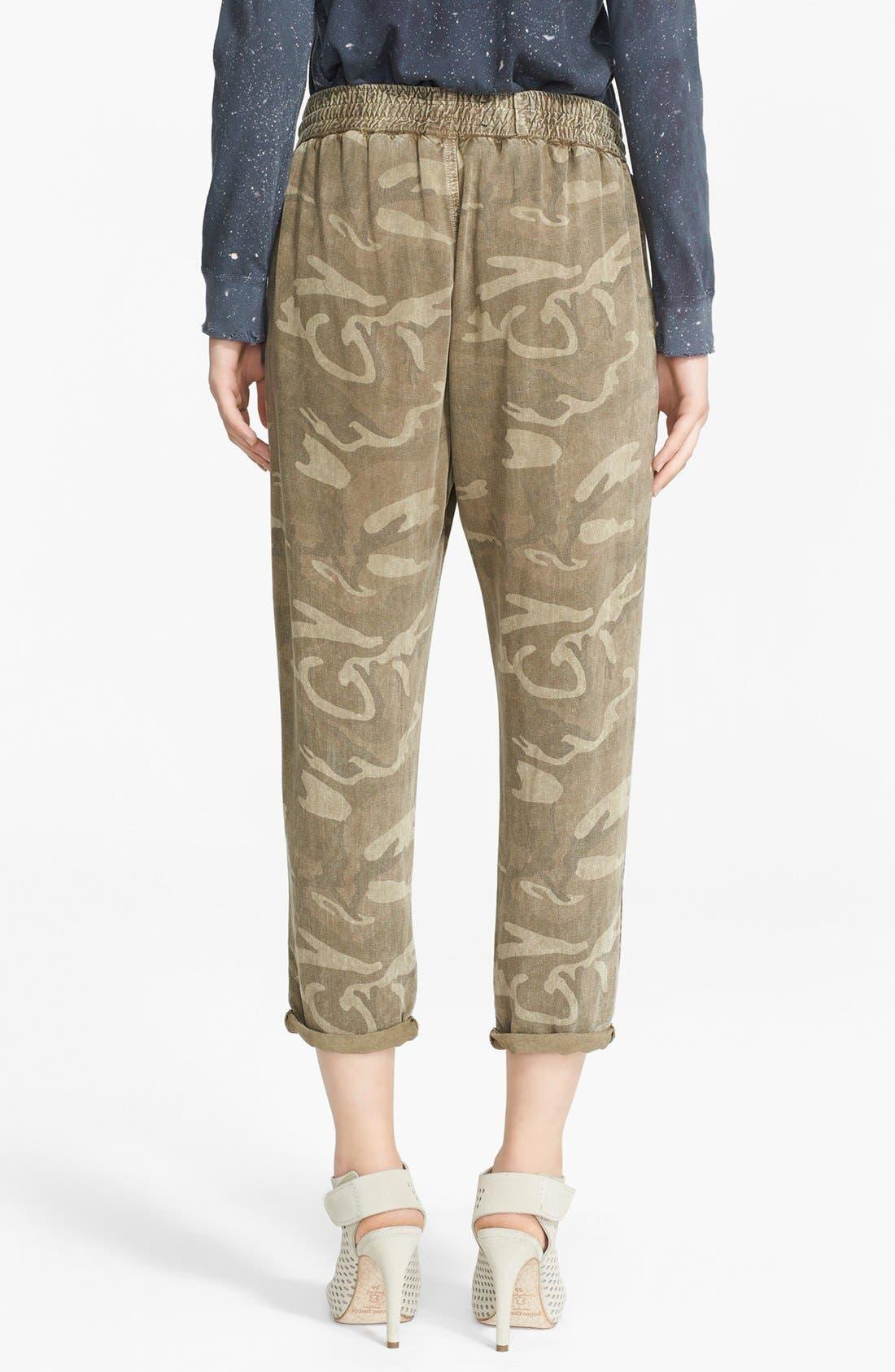 Alternate Image 2  - Current/Elliott Camo Print Drawstring Trousers