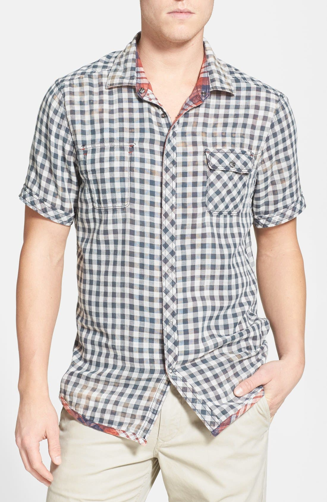 Alternate Image 4  - Jeremiah 'Ohio' Short Sleeve Reversible Plaid & Gingham Shirt