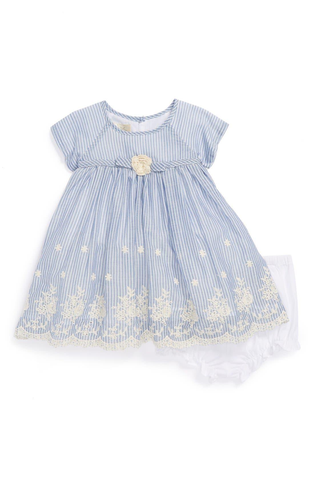Main Image - Pippa & Julie Chambray & Eyelet Dress & Bloomers (Baby Girls)