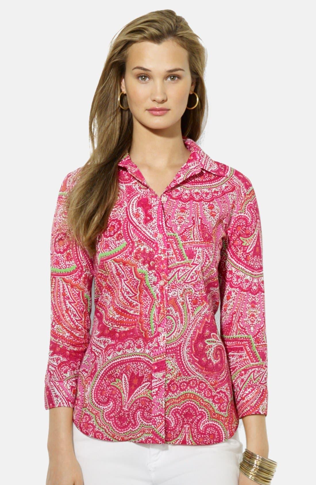 Paisley Print Cotton Shirt,                             Main thumbnail 1, color,                             Pink Multi