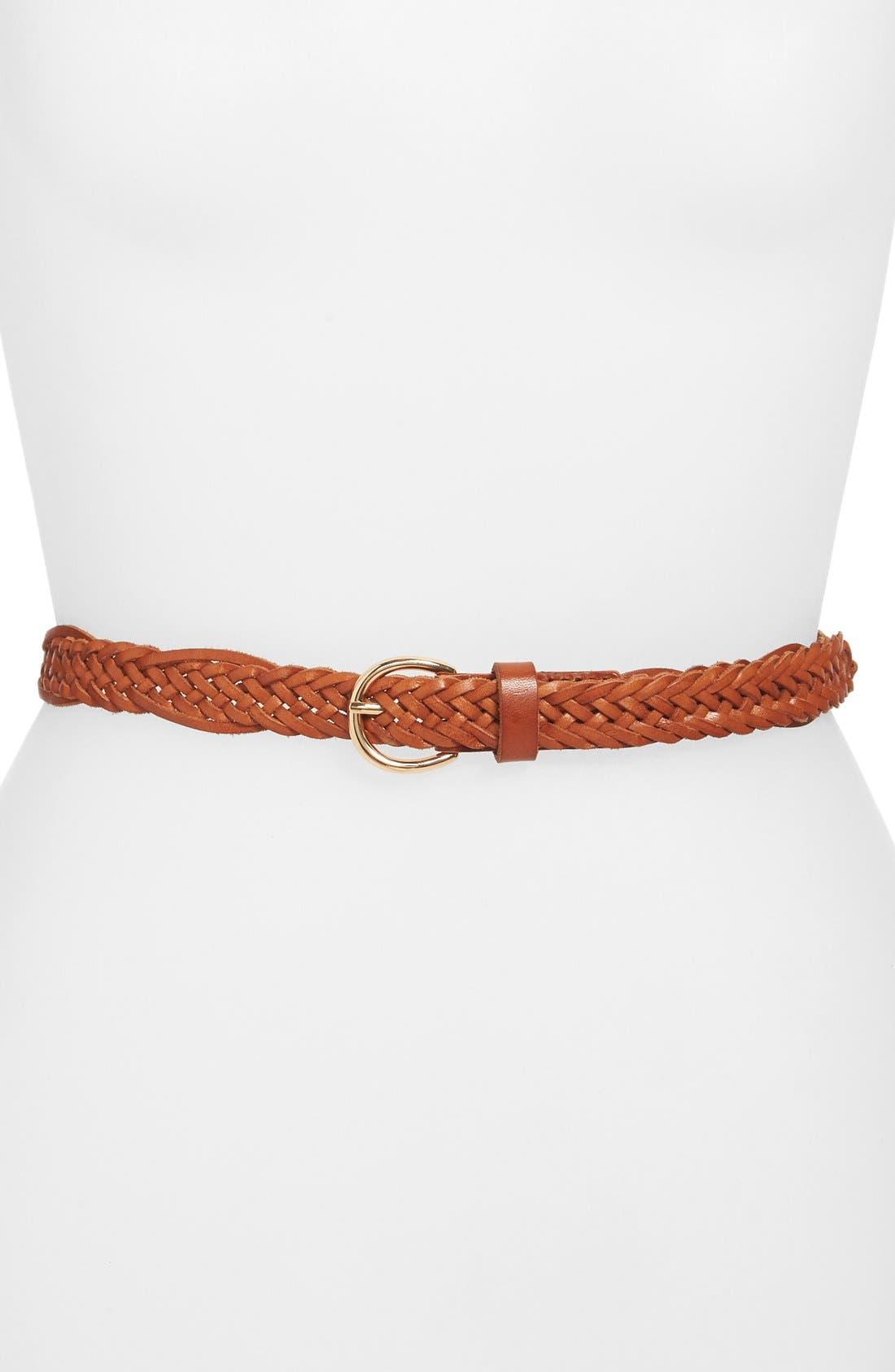 Main Image - Halogen® Skinny Braided Leather Belt