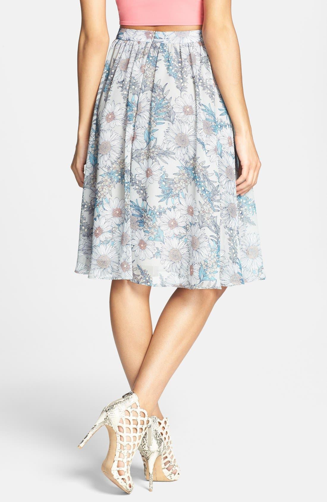 Alternate Image 2  - ASTR Floral Print High Rise Midi Skirt