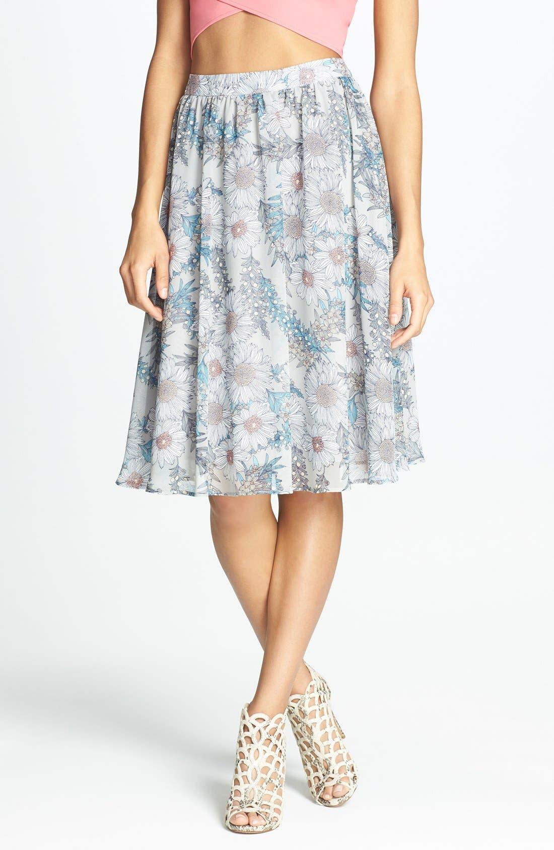 Alternate Image 1 Selected - ASTR Floral Print High Rise Midi Skirt