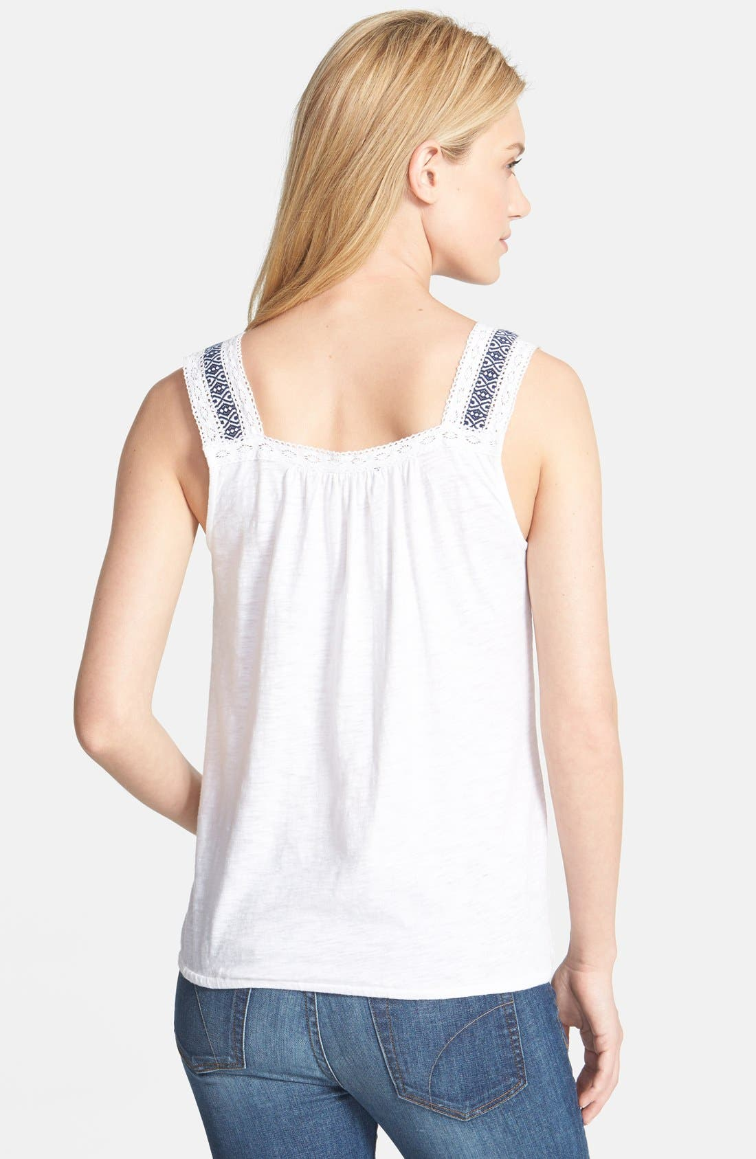 Alternate Image 2  - Lucky Brand 'Galena' Embroidered Lace Trim Tank