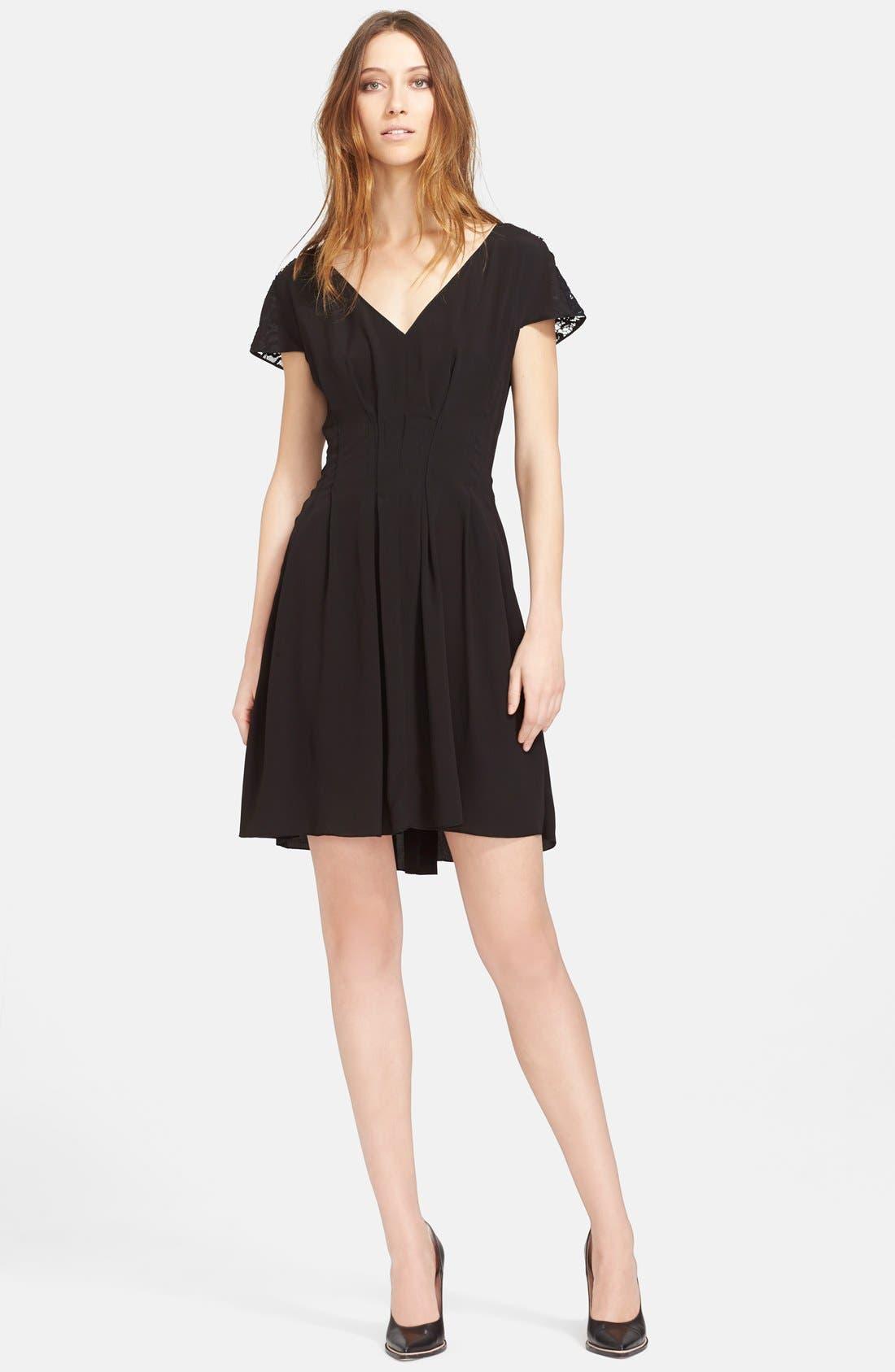 Main Image - Nina Ricci Lace Trim Crepe Dress