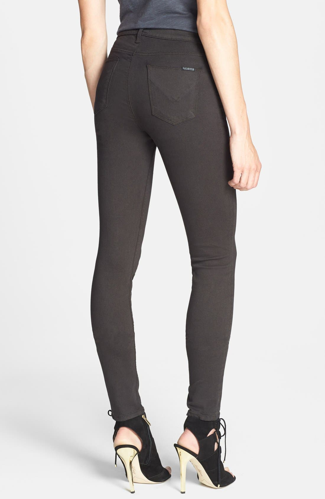 Alternate Image 2  - Hudson Jeans 'Barbara' High Rise Skinny Jeans (Brown) (Nordstrom Exclusive)